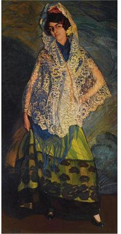 Zuloaga,    La Morenita con Chal Blanco, 1913.  Spain