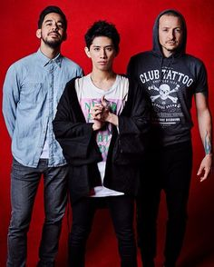 Chester and Mike with Taka from One Ok Rock