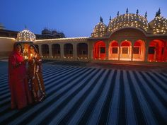Diwali Festival. Jaipur, India  It is the festival of lights celebrated on the 13th lunar day of the Krishna paksha (dark fortnight). The lights are and the red of the building is do pretty against the blue ground