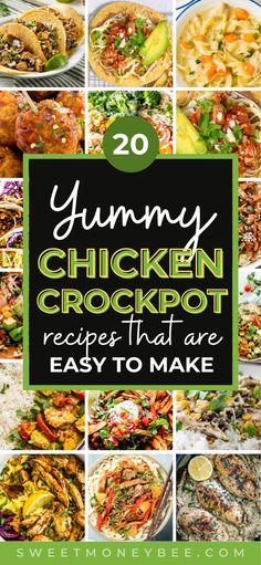 Slow Cooker Creamy Chicken, Crockpot Chicken Healthy, Healthy Chicken Dinner, Healthy Crockpot Recipes, Healthy Dinner Recipes, Chicken Recipes, Crockpot Meals, Lunch Recipes, Crock Pot Cooking
