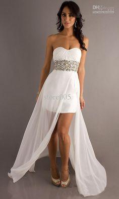White Short Front Long Back Chiffon Diamonds Graduation Prom Dresses E2899