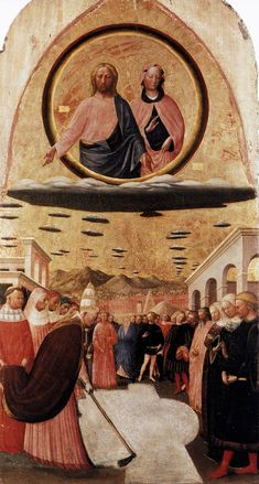 "Centuries old paintings depict UFOs/ aliens ?  This is ""Miracle of the Snow: Foundation of Santa Maria Maggiore"" by Italian painter Masolino da Panicale, c1430.  OK, this seems less convincing but those clouds *are* oddly painted and what's with the curious geometric shape of the snow?"