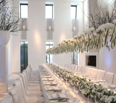 White Dinner Party. This looks amazing. Love the idea of suspending from the roof.