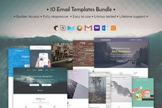 10 Email templates bundle + Builder by ThemesCode on Binder Templates, Sign Templates, Email Templates, Newsletter Templates, Bookmark Template, Journal Template, E Commerce, Email Marketing Design, Newsletter Design