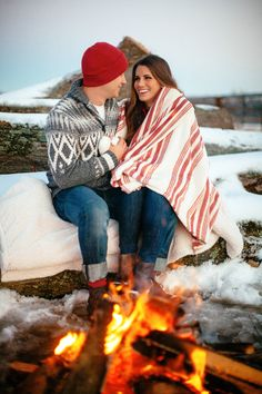 Montana fireside engagement shoot. Photography: Love Is A Big Deal - loveisabigdeal.com  Read More: http://www.stylemepretty.com/illinois-weddings/2013/12/23/winter-engagement-session/