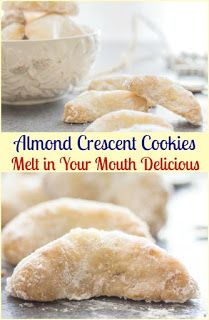 Crescent Cookies, almond, pecan or walnut these melt in your mouth Christmas Cookie Recipe are a must make.Almond Crescent Cookies, almond, pecan or walnut these melt in your mouth Christmas Cookie Recipe are a must make. Oreo Dessert, Cookie Desserts, Dessert Recipes, Dinner Recipes, Cookie Favors, Appetizer Dessert, Cooking Cookies, Cookie Tray, Dessert Food