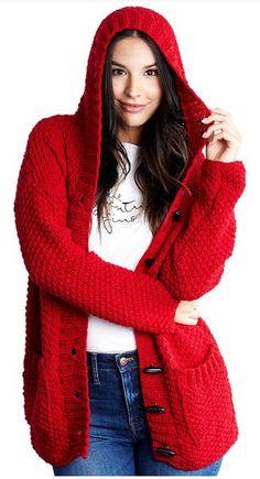 Free Knitting Pattern for Lazy Day Chic Sweater - This long-sleeved hooded cardigan is nit with a 4 row repeat Double Moss Stitch. Sizes& S, M, L, XL, and Worsted weight. Designed by Marly Bird for Red Heart. Sweater Knitting Patterns, Cardigan Pattern, Loom Knitting, Knitting Stitches, Knit Patterns, Free Knitting, Knit Cardigan, Stitch Patterns, Cardigan Design