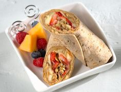 Peanut Butter and Jelly with Strawberries, Banana and Granola Flatbread Wrap (aka B&J with SB&G) Recipe Lunch and Snacks, Breakfast and Brunch with Flatout® Flatbreads, creamy peanut butter, sugar-free jam, strawberries, bananas, low fat granola without raisins