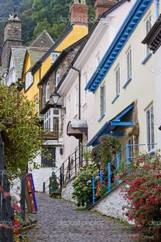 Old cobbled street Clovelly in North Devon, England