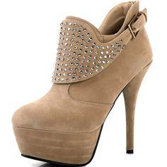 Nude Suede Heel Buckle & Rhinestone Ankle Boots