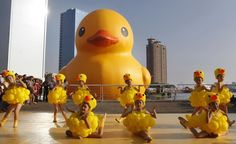 This photo shows the original giant rubber duck when it visited Hong Kong.