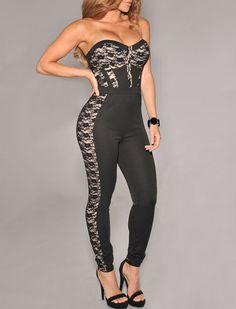 $37.99 | Black Lace Nude Illusion Padded Jumpsuit