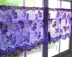 lavender lace drapes | Purple Lace Curtain, French Cafe Curtain, Bedroom Valance Curtain ...
