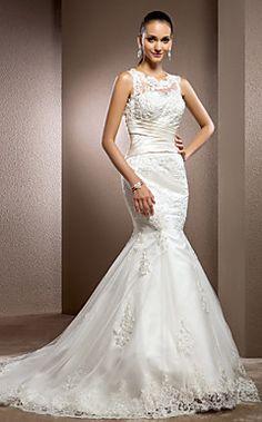 tren vestido de novia de encaje trompeta / sirena joya tribu... – EUR € 245.02