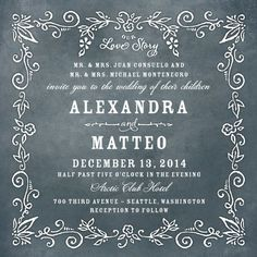Old World Romance - Signature White Wedding Invitations - Lady Jae - Moonstruck - Blue : Front
