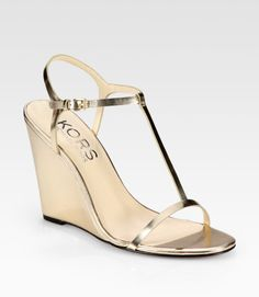 Kors By Michael Kors Gold Ruby Metallic Leather Tstrap Wedge Sandals