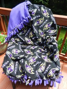 Baltimore Ravens no sew fleece throw by isewmuchtime on Etsy, $54.00