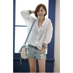$7.31 Simple Slimming Casual Thress Quarter Sleeves Shirt For Women