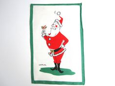 Vintage Christmas Cocktail Napkin Santa Claus Depler by NeatoKeen