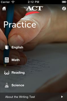 ACT prep app for iphone/ipad. Act Test Prep, College Test, Writing Test, College Planning, School Motivation, School Hacks, School Counseling, High School Students, Fun Learning