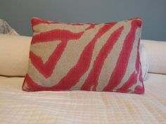 Fuschia pink and natural linen zebra design fabric by kdHOMEofCT, $35.00