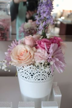 Floral centerpiece at a Garden birthday party! See more party ideas at CatchMyParty.com!