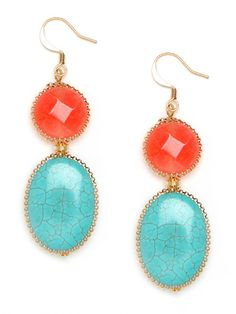 my absolute favorite color combination is turquoise and coral! these earrings are perfect for summer