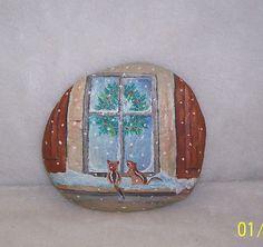 Painted Rock Folk Art Squirrels at Window   eBay