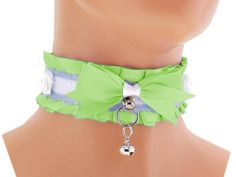 Green satin day collar, Kitten Play Collar, Pet Play Collar, Choker, BDSM collar, Princess, ddlg collar, puppy, neko girl, kawaii, pastel 4N