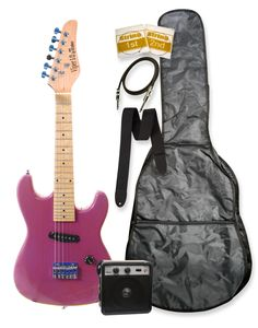 """32"""" Junior Kids Mini 1/2 Size Electric Starter Guitar and Amplifier Pack with Free Gig Bag and Accessories Metallic Purple & DirectlyCheap(TM) Translucent Blue Medium Guitar Pick. Solid Basswood Body. Maple Neck. Maple Fretboard. Single Coil Pick Up, 1 Volume. Single Saddle Bridge, Die Cast Tuners."""
