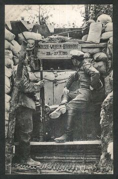 """Kaiser Wilhelm Barricade, 25 meters from enemy"": German World War I postcard"