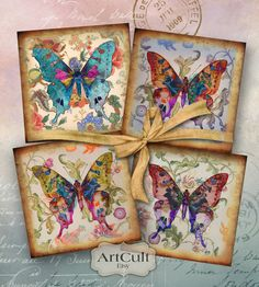 Printable download BUTTERFLY KISS 3.8x3.8 inch size by ArtCult