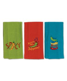 Look at this #zulilyfind! Some Like It Hot Embroidered Dish Towel Set #zulilyfinds