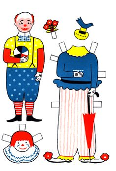Circus Sam Vintage Paper Doll. Clown Doll with masks, outfits and hats. Recommending to: @Corona Holland