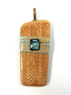 Polymer Clay Pendant Beaded Focal or Brooch - Copper FeathersMica Shift Pendant with Faux Turquoise Detail