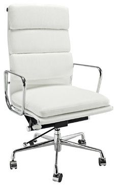 High Back White Leather Executive Office Chair - contemporary - Task Chairs - Overstock.com