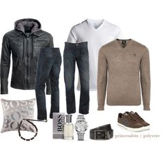 Men style - Brown/BOSS by princesalein on Polyvore