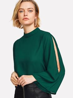Stagioni Fashion for Women, Blouses for Women. Item: Keyhole Back Split Sleeve Blouse for Women Modern Fashion Outfits, Stylish Outfits, Girl Fashion, Western Tops, Fall Shirts, Green Blouse, Long Blouse, Everyday Outfits, Chiffon Tops
