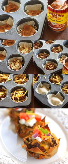 The Munchies: Taco Cupcakes INGREDIENTS: 1 pound ground beef 1 (1.25 ounce) package of Old El Paso taco seasoning mix 36 wonton wrappers 1 (16 ounce) can Old El Paso refried beans 36 tortilla chips 2 cups shredded cheddar cheese sour optional toppings: cream, diced tomatoes, cilantro, onion