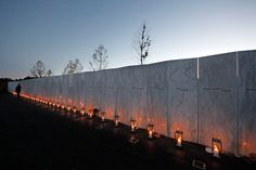 Forty luminaria are placed at the wall of names in memory of the 40 passengers and crew of United Flight 93 at the Flight 93 National Memorial at sunset on Sept. 10 in Shanksville, Pa. (Gene J. Puskar/Associated Press)