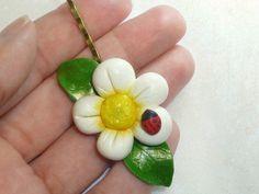Flower Hair clip Ladybug hair clip Polymer by ImaginaryHandicraft