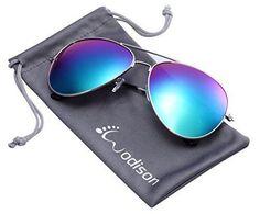 WODISON Vintage Reflective Mirror Lens Metal Frame Aviator Sunglasses Green Mix Blue Lens