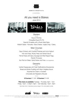 June All You Need is Blakes menu out now