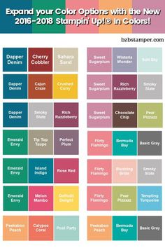 Introducing the new 2016-2018 Stampin' Up! In-Color Colors: Dapper Denim, Peekaboo Peach, Emerald Envy, Sweet Sugarplum and Flirty Flamingo. Use this handy dandy chart to try out different color combinations. Visit my blog for more DIY Color Combinations. *Ü*