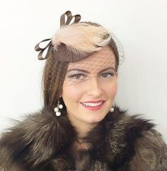 #Chocolate #brown nude mink #feathers veil pillbox hat vintage wedding races 1940,  View more on the LINK: 	http://www.zeppy.io/product/gb/2/151614276887/