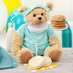 Fields super-soft Scrubs Bear is ready to report to the scene offering a get well wish! He arrives with four original cookies and two frosted cookies! Sweet enough to make anyone feel better! Get Well Wishes, Get Well Soon Gifts, Get Well Balloons, Get Well Gift Baskets, Cookie Gift Baskets, Flowers For You, Tri Cities, Personalized Books, Face Design