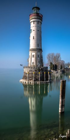 Lighthouse, Lindau, Germany - One of the most scenic and photographed… Lighthouse Pictures, Beacon Of Light, Water Tower, Belle Photo, Beautiful Places, Scenery, Around The Worlds, Ocean, Lindau Germany