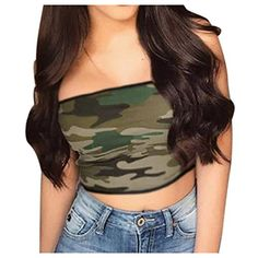 da89d9bfbc Inkach Women s Crop Tops - Sexy Camisoles Tank Tops Vest - Sleeveless  Camouflage Printed Blouse Tees Shirt