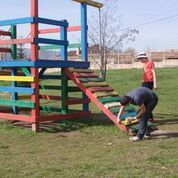 in this year's service project we had to refurnish a playground that the previous service trip had built for a school!