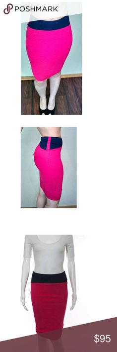 """Alexander McQueen Hot Pink Blue Stretch Pencil Gorgeous Alexander McQueen hot pink with navy detail pencil skirt!! Extra stretchy material hugs you body. Scrunches at back of bottom hem. Zips up. Stunning!  Good condition.  Size 2; very good condition.  Measurements taken laying flat; Waist: 13.5"""" Hips: 15"""" Length: 27"""" *Material is stretchy* Alexander McQueen Skirts Midi"""